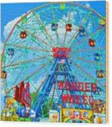 Wonder Wheel Amusement Park 7 Wood Print