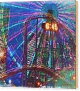 Wonder Wheel At The Coney Island Amusement Park Wood Print