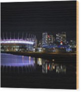 Wonderful Night Of False Creek View With Bc Place. Wood Print