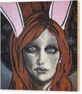 Wonderland Girls - Bunny Ears Close Up Wood Print