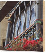 Wood Beams Red Flowers And Blue Window Wood Print
