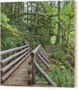 Wood Bridge Over Butte Creek Wood Print