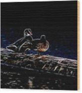 Wood Duck Pair - Fractal Wood Print