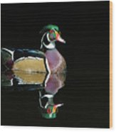 Wood Duck Reflection Wood Print