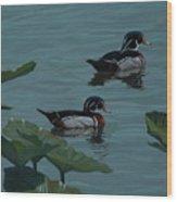 Wood Ducks On Lake Morton Wood Print