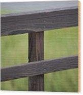 Wood Railing Over The Marsh Wood Print