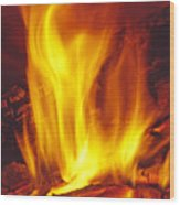 Wood Stove - Blazing Log Fire Wood Print