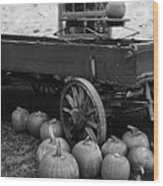 Wood Wagon And Pumpkins Black And White Wood Print