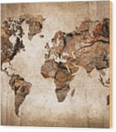 Wood World Map Wood Print by Delphimages Photo Creations