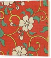 Woodblock Print Of Apple Blossoms Wood Print