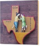 Woodcrafted 2 Cow Steppin' Wood Print by Michael Pasko