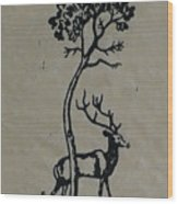 Woodcut Deer Wood Print