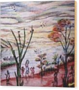 Wooded Beachfront With Fun Seekers Wood Print