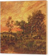 Wooded Landscape With A Faggot Gatherer Wood Print