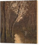 Wooded Landscape With Angler On The Riverside Wood Print