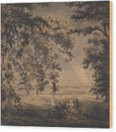 Wooded Landscape With Rainbow Wood Print