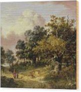 Wooded Landscape With Woman And Child Walking Down A Road  Wood Print