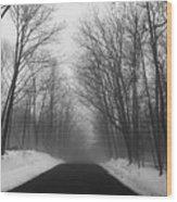 Wooded Winter Road Wood Print