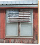 Wooden American Flag On Red Barn Wood Print