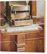 Wooden Bank Cash Register Wood Print