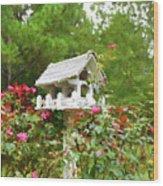 Wooden Bird House On A Pole 3 Wood Print