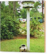Wooden Bird House On A Pole 6 Wood Print by Lanjee Chee