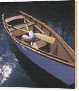 Wooden Boat And Paddles In Halibut Cove Wood Print