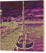 Wooden Boat Moorage Wood Print