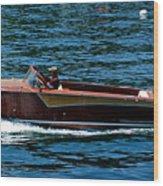 Wooden Boat Waves On Tahoe Wood Print
