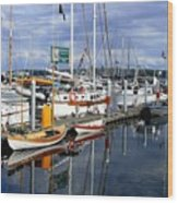 Wooden Boats On The Water Wood Print