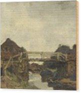 Wooden Bridge Across A Canal At Rijswijk Wood Print