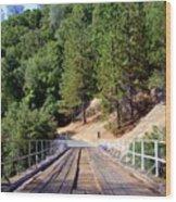 Wooden Bridge Over Deep Gorge Wood Print