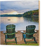 Wooden Chairs At Sunset On Beach Wood Print