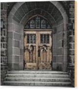 Wooden Church Door In Stone Archway Wood Print