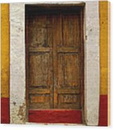 Wooden Door With White Trim Wood Print