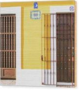 Wooden Doors In Old San Juan, Puerto Rico Wood Print