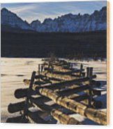 Wooden Fence And Sawtooth Mountain Range Wood Print