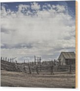 Wooden Fenced Corral Out West Wood Print