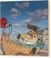Wooden Fishing Boat On Shore Wood Print