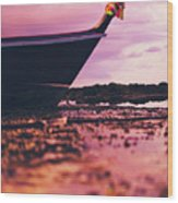 Wooden Fishing Thai Boat Sunken On The Rocky Beach During Tide Wood Print