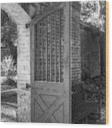 Wooden Garden Door B W Wood Print