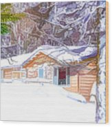 Wooden House In Winter Forest Wood Print