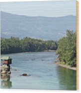 wooden house on rock Drina river Serbia Wood Print