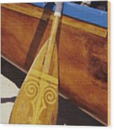Wooden Paddle And Canoe Wood Print