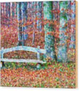 Wooden Park Bench In Dry Leaves  Wood Print