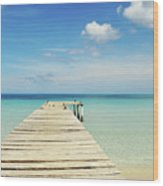 Wooden Pier On A Perfect Tropical Caribbean White Sand Beach Wood Print