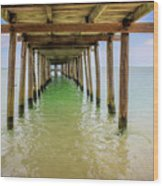 Wooden Pier Stretching Into The Sea Wood Print