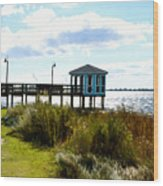 Wooden Pier With Pavilion Wood Print