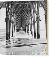 Wooden Post Under A Pier On The Beach Wood Print