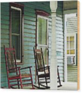 Wooden Rocking Chairs On Porch Wood Print